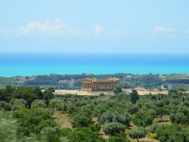 The Temple of Juno with the Mediterranean as a backdrop