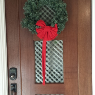 My front door, decorated for Christmas