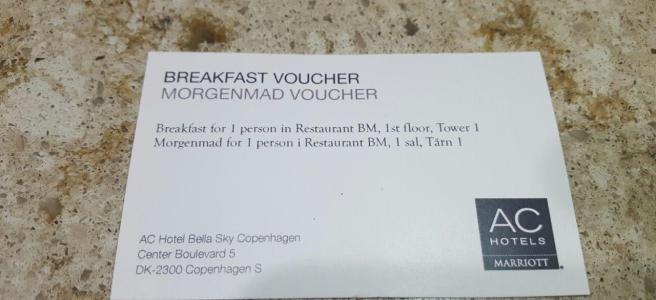 Bella Sky Breakfast voucher