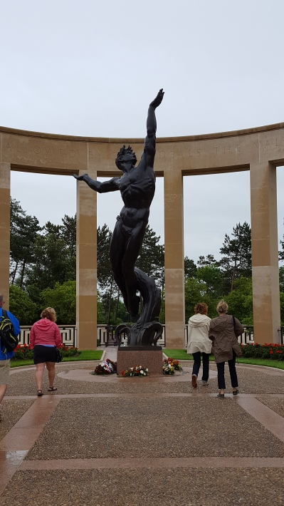 Spirit of American Youth Rising from the Waves statue American Cemetery Normandy France