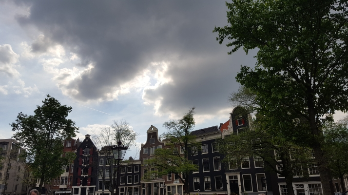 Amsterdam street scene across from Anne Frank House