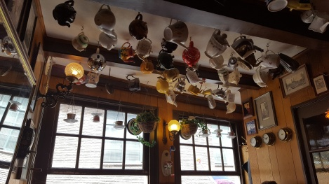 Upstairs Pannenkoeken Amsterdam teapots on ceiling