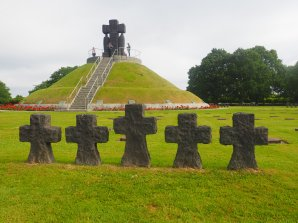 Rows of crosses decorating the cemetery, these are not grave markers