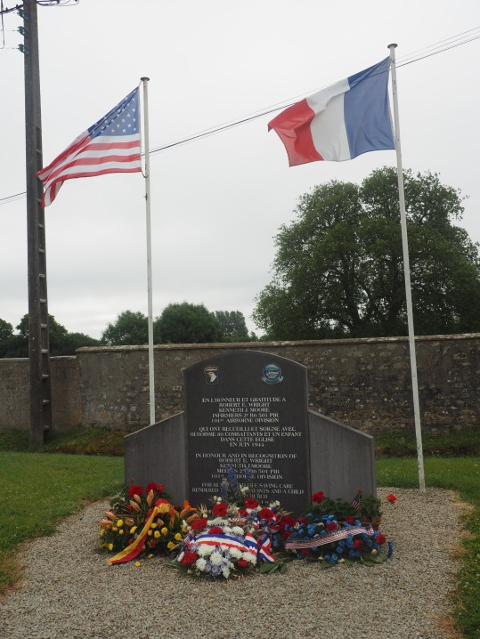 Angoville-au-Plain memorial Robert Wright and Kenneth Moore Normandy France