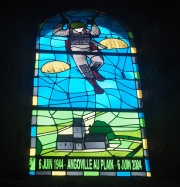 Stained glass memorializing the US paratroopers in Angoville-au-Plain