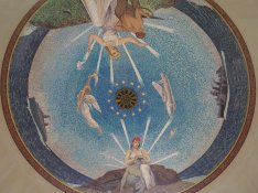 Mosaic chapel ceiling American Cemetery Normandy France