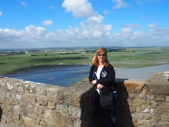 Me at a scenic overlook at the top of Mont St Michel