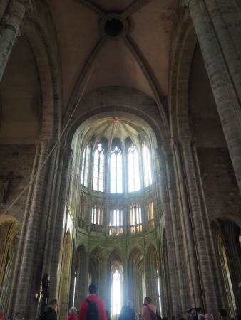 Gothic architecture altar and choir cathedral Mont St Michel
