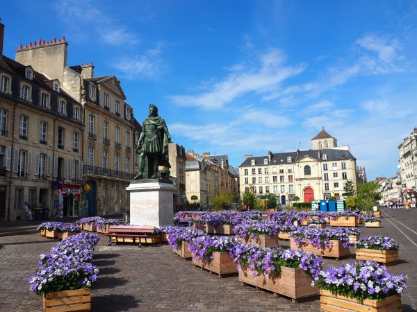 Caen city center Louis XI statue