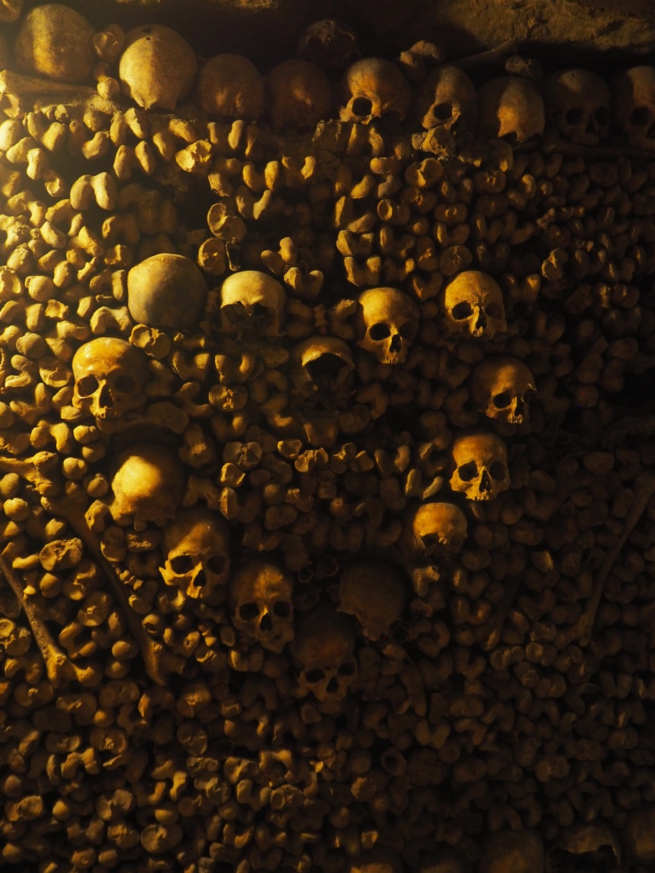 Paris Catacombs heart shape of skulls