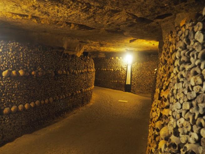 Paris Catacombs wall of bones