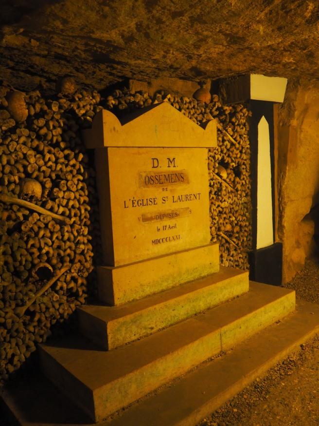 Paris Catacombs tombstone