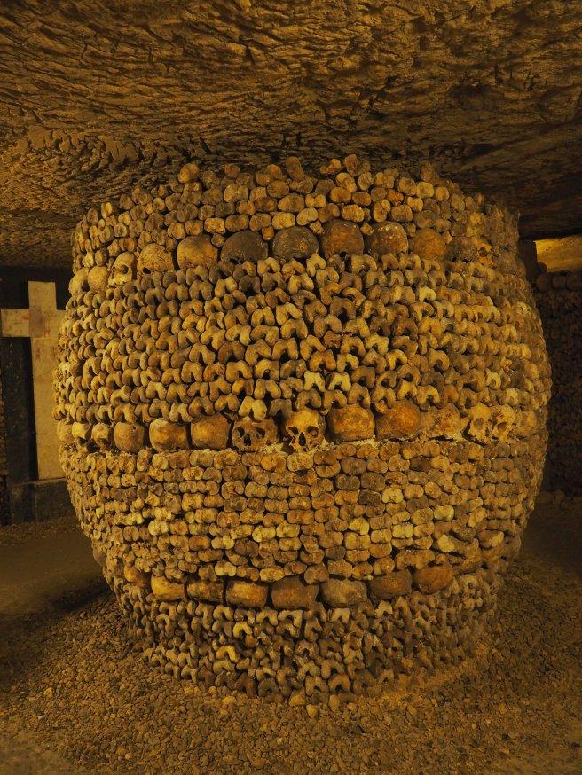 Paris Catacombs Pillar of bones and skulls