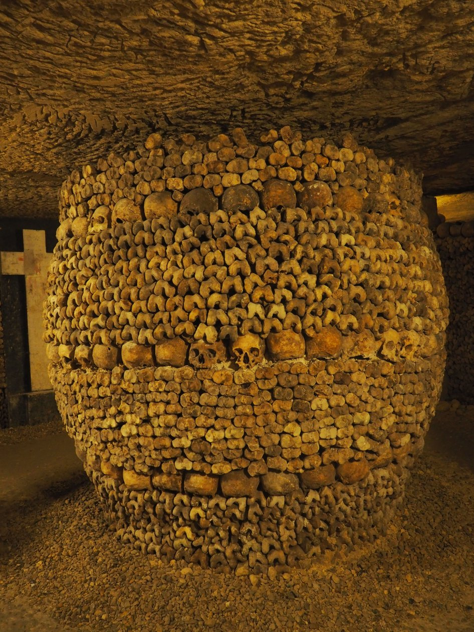 Paris Catacombs Pillar of bones and skulls